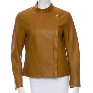The Row Cognac Brown Leather Jacket Size 8